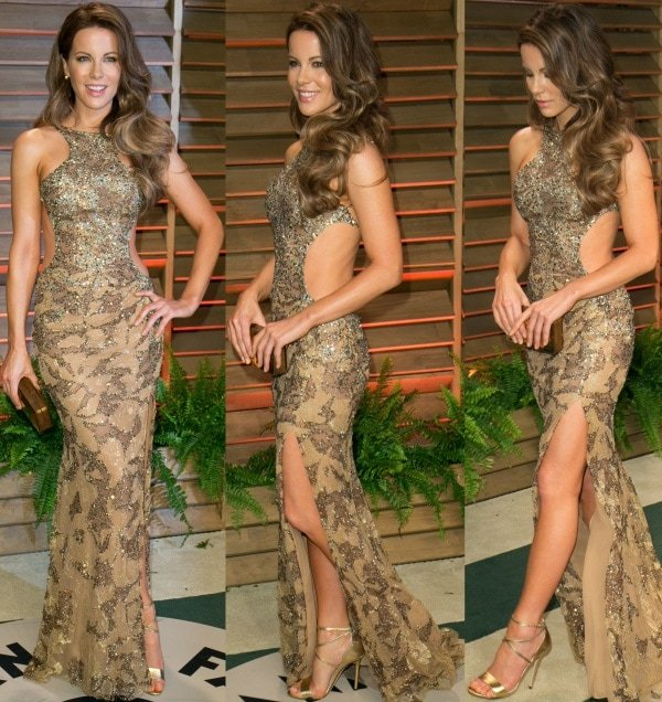 Kate Beckinsale glimmered and shimmered in a fabulous gold gown
