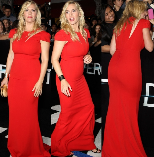 Kate Winslet looked radiant in a red floor-length gown from SAFiYAA's Spring 2014 collection