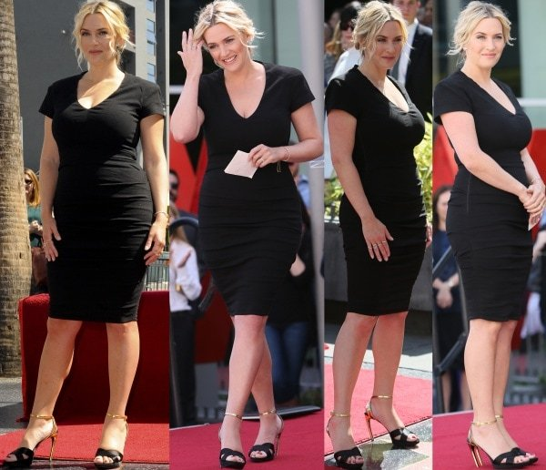 Kate Winslet showcased understated elegance and glamour in a figure-hugging black dress