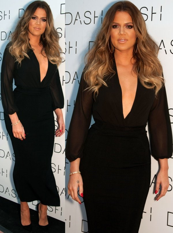 Khloe Kardashian'shair fell in cascading waves at the grand opening of DASH Miami Beach