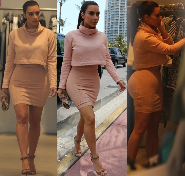 Kim Kardashian on a shopping spree in Miami Beach, Florida, on March 12, 2014