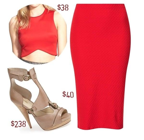 One Rad Girl Hailey Shark Bite Hem Crop Top / Topshop Textured Tube Skirt / MAXStudio Xpat Sandals