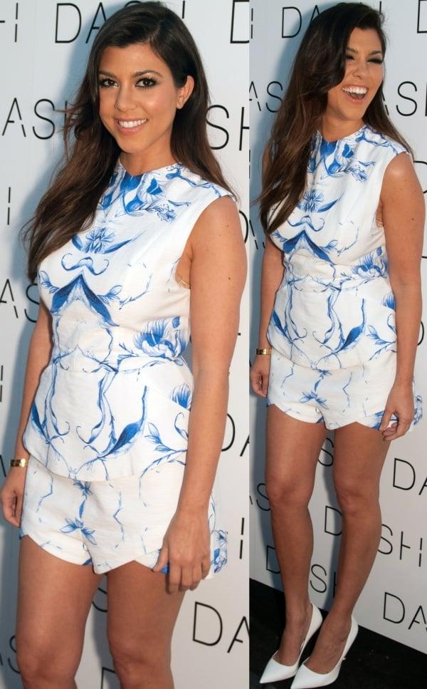 Kourtney Kardashian showcased her love for prints at the grand opening of DASH Miami Beach
