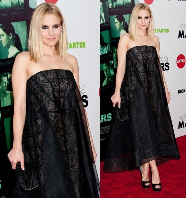 Kristen Bell styled her dreamy black Monique Lhuillier dress with matching Jimmy Choo pumps
