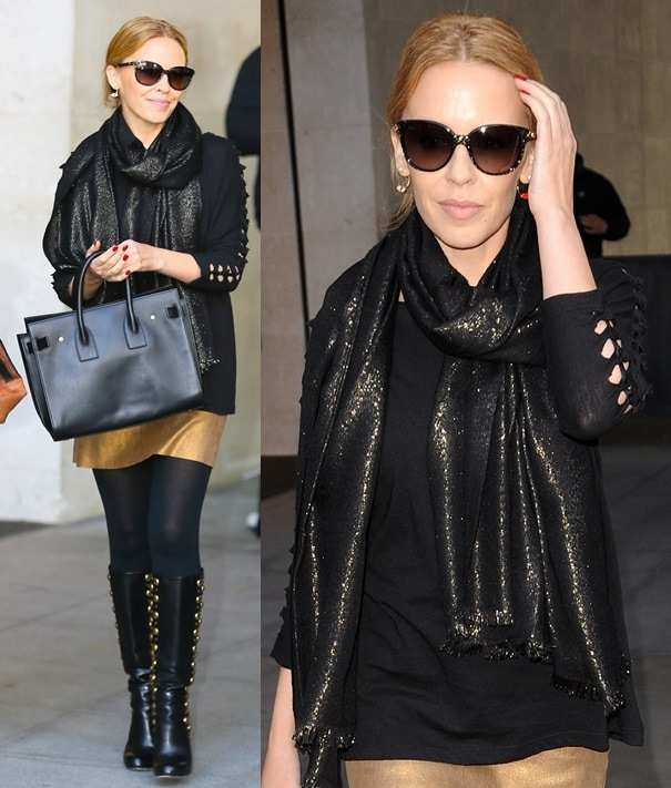 Kylie Minogue amping up her style with a sparkly scarf