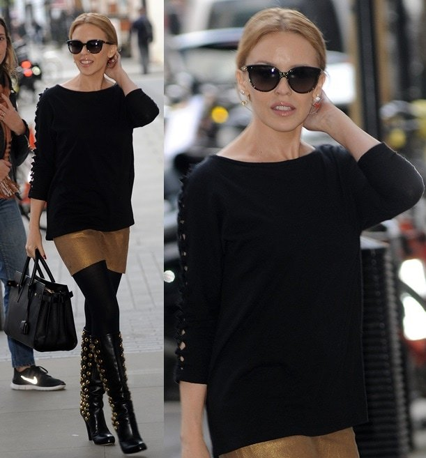 Kylie Minogue showing off a fresh pair of knee-high boots when she was at Radio 1 studios in London
