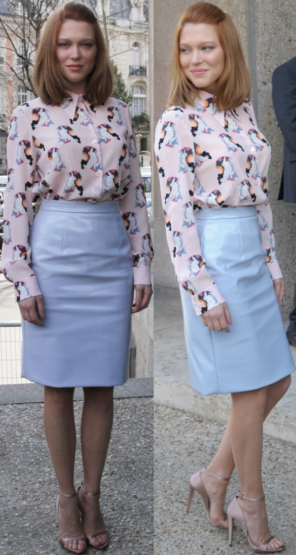 Lea Seydoux looked lovely in her pastel pink silk blouse