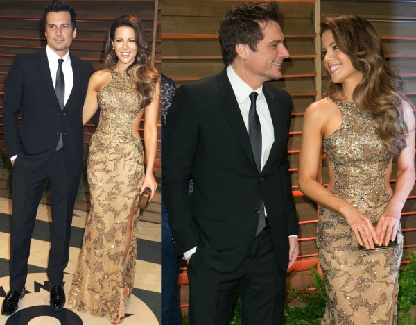 Kate Beckinsale with husband Len Wiseman at the 2014 Vanity Fair Oscar Party held at Sunset Plaza in West Hollywood, California, on March 2, 2014