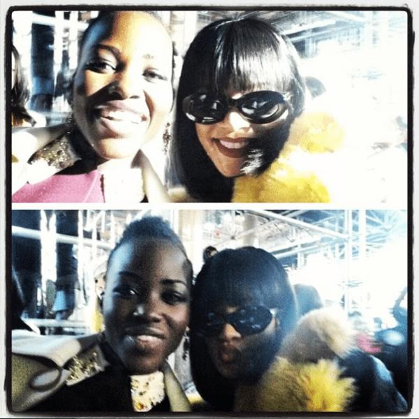 "Lupita Nyong'o's Instagram photo with the caption, ""#MiuMiu selfie with the sensational Rihanna @badgalriri. #Paris"""