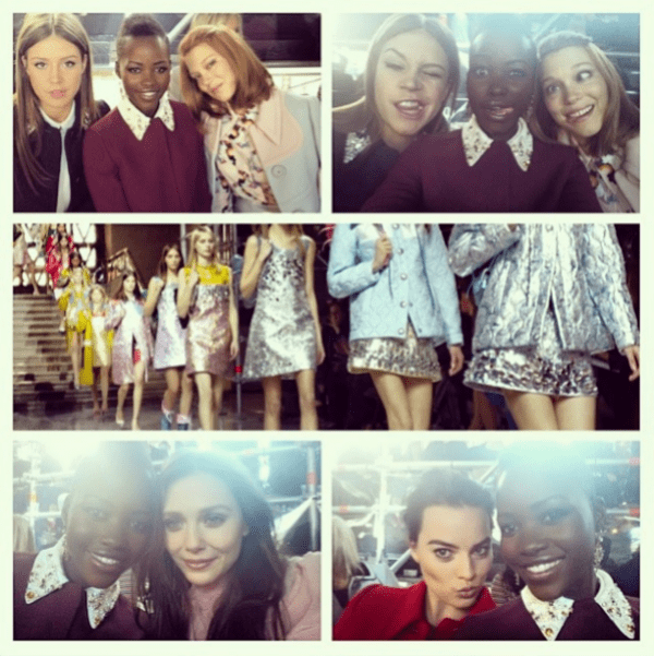"Lupita Nyong'o's Instagram photo with the caption, ""#MiuMiu Fall/Winter Fashion Show, Front Row #selfies"