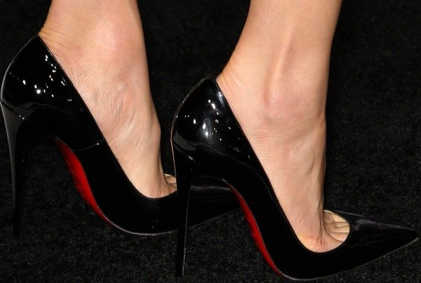 Maggie Q  wearing black Christian Louboutin pumps