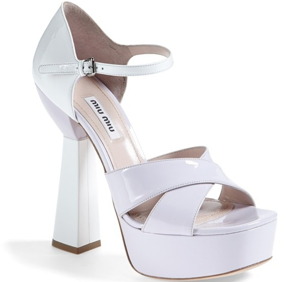 Miu Miu Mary Jane Platform Sandals in Lilac and White