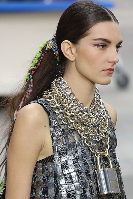 model padlock necklace Chanel fall 2014