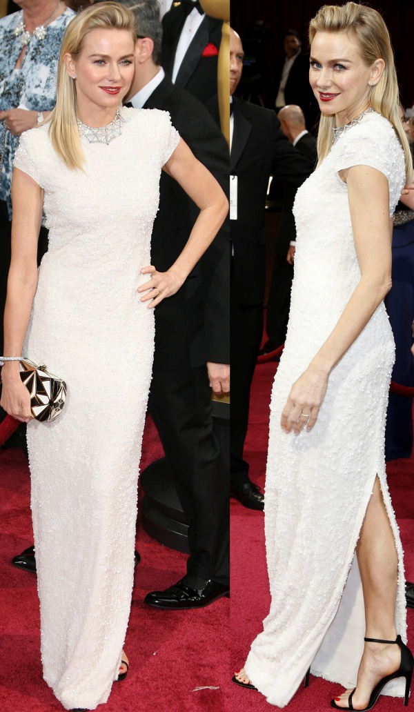 Naomi Watts in a beautiful custom gown from Calvin Klein