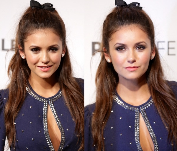 Nina Dobrev'shalf-up, half-down hairstyle was capped off with a tiny bow, which made her look younger