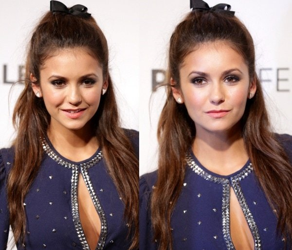 Nina Dobrev's half-up, half-down hairstyle was capped off with a tiny bow, which made her look younger