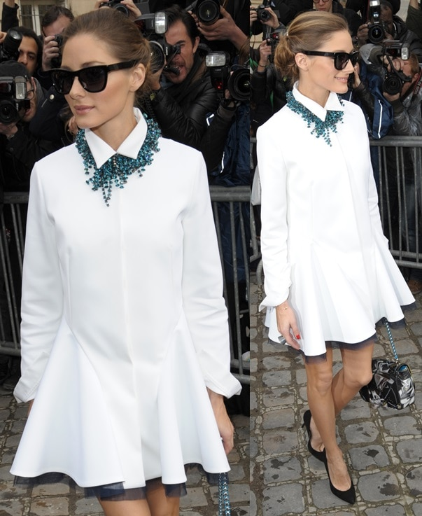 Olivia Palermo arriving at Christian Dior