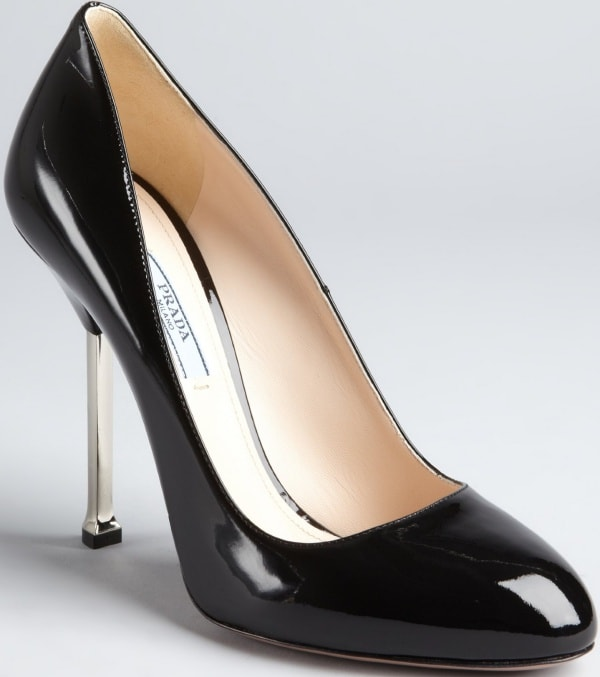 Prada Silver-Heeled Pumps in Black Patent Leather