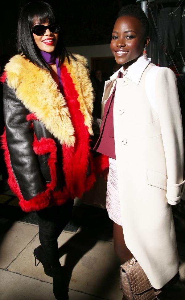 Rihanna and Lupita Nyong'o at the Miu Miu Fall/Winter 2014 runway presentation