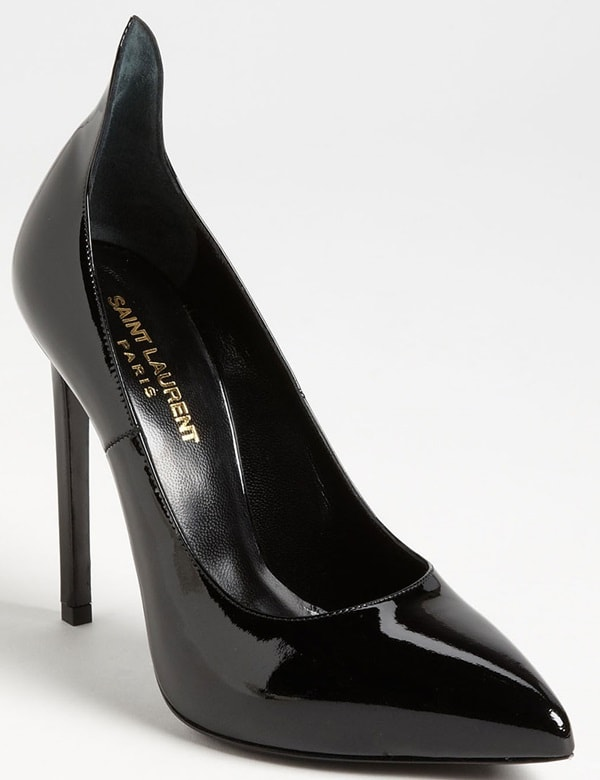 "Saint Laurent Paris Escarpin ""Thorn"" Pumps in Black Patent"