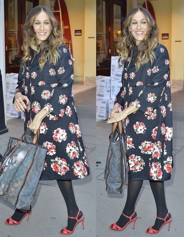 Sarah Jessica Parker wearing black hosiery and red sandals
