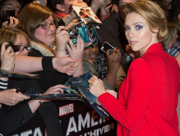 Scarlett Johansson at the premiere of Captain America: The Winter Soldier held at Le Grand Rex in Paris, France, on March 17, 2014