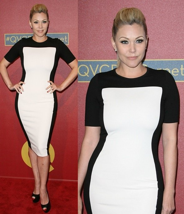 Shanna Moakler wearing a Stella McCartney–inspired black-and-white frock