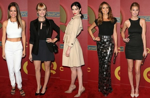 Brooke Burke, Beth Behrs, Krysten Ritter, Stacy Keibler, and Whitney Port at the QVC Pre-Oscar Party held at the Four Seasons Hotel in Los Angeles on February 28, 2014