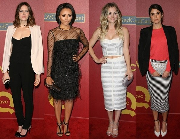 Mandy Moore, Katerina Graham, Kaley Cuoco, and Nikki Reed at the 2014 QVC Pre-Oscar Party held at the Four Seasons Hotel in Los Angeles on February 28, 2014