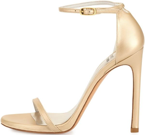 "Stuart Weitzman ""Nudist"" Sandals in Pale Gold"