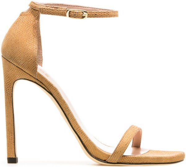 "Stuart Weitzman ""Nudist"" Sandals in Pan Goose Bump Nappa"