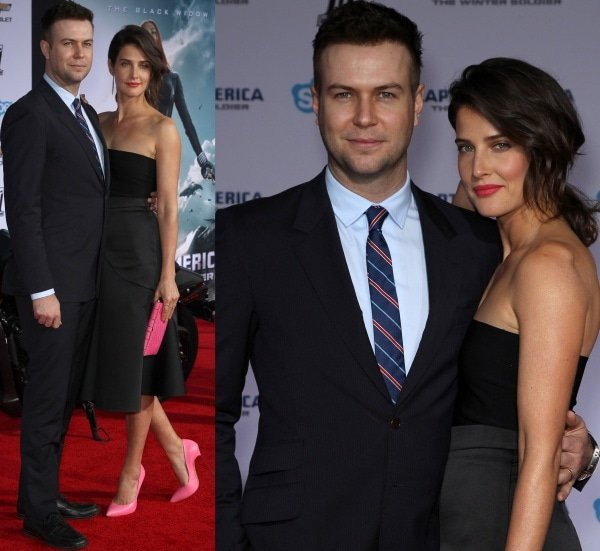 Cobie Smulders with husband Taran Killam at the premiere of Captain America: The Winter Soldier