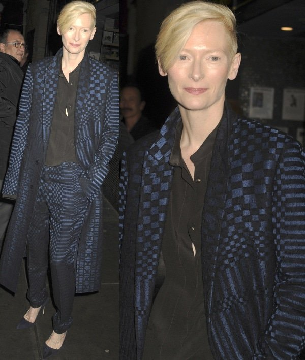 Tilda Swinton at a screening of 'Only Lovers Left Alive' hosted by The Cinema Society and W magazine's Editor-in-Chief Stefano Tonchi at Landmark's Sunshine Cinema in New York City on March 12, 2014