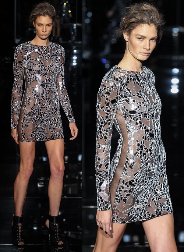 Tom Ford mirror-detailed dress from the Spring 2014 runway