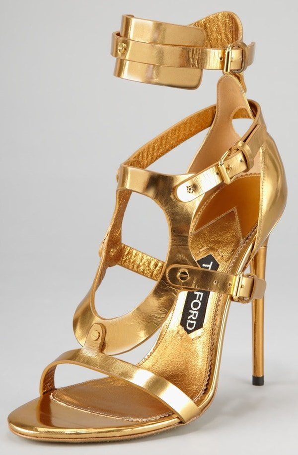 Tom Ford Triple-Buckle Sandals in Metallic Gold