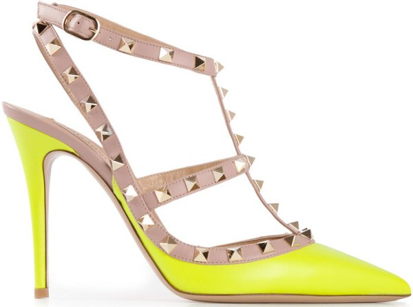 "Valentino ""Rockstud"" Pumps in Neon Yellow"