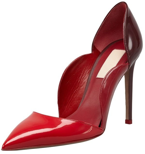 Valentino Rouge Absolute Scalloped Sides Two-Tone d'Orsay Pumps