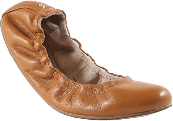 Yosi Samra Mirah Alsina Leather Flats in Whiskey