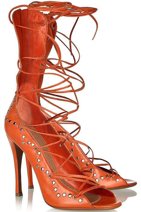 Alaia studded lace-up sandals