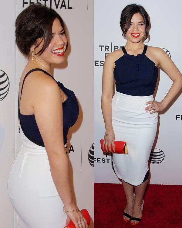 America Ferrera wearinga Roland Mouret Spring 2013 color-block dress