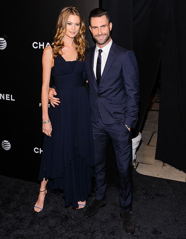 Behati Prinsloo and Adam Levine at the 'Begin Again' premiere during the 2014 Tribeca Film Festival at BMCC Tribeca PAC in New York City on April 26, 2014