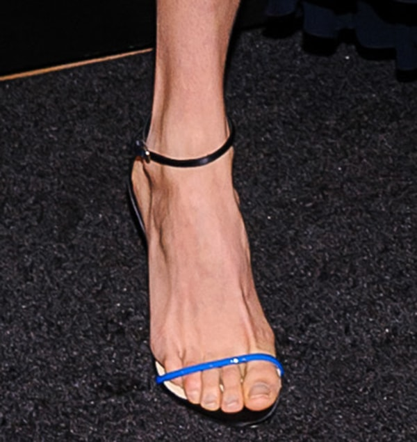 Behati Prinsloo wearing ankle-strap sandals