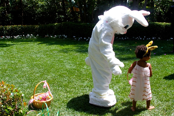 Blue Ivy came across a huge white rabbit mascot