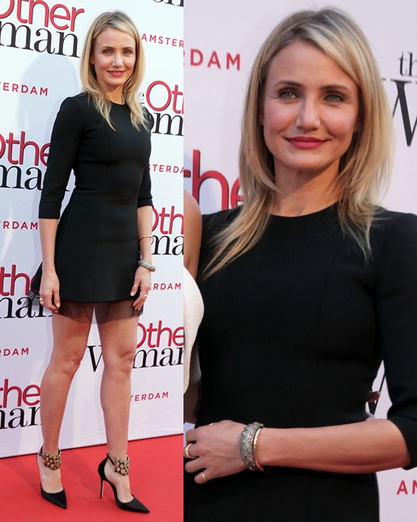 Cameron Diaz wore her hair down in a sexy black dress