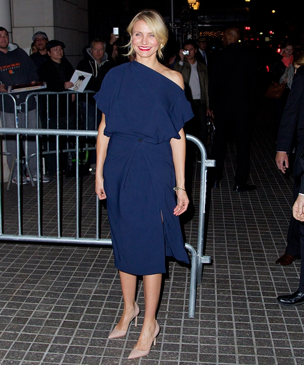 Cameron Diaz covered up this time in a blue Vionnet mid-length dress