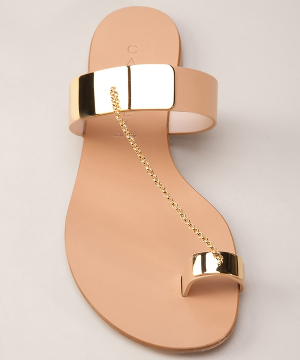 Casadei Gold Plated Toe Ring Sandals Beige