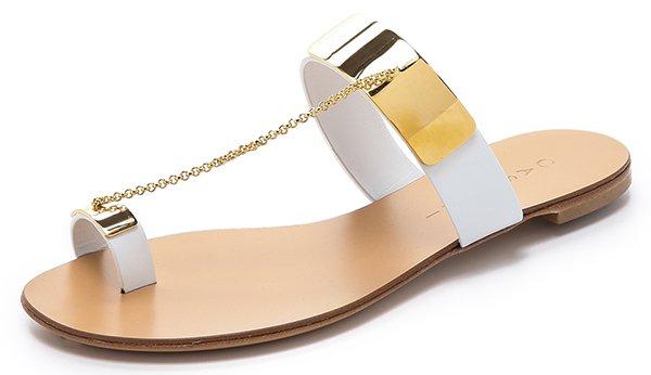 Casadei Metal Plating Sandals White