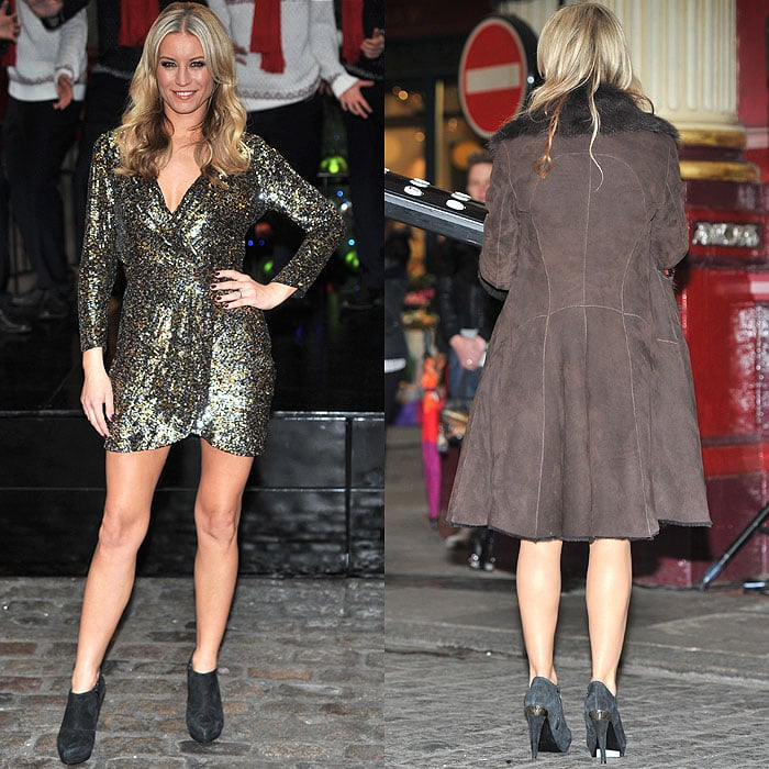 Denise van Outen at a live performance of her favorite Christmas carols sung by Britain's Got Talent acapella sensations, Out of the Blue, at Leadenhall Market in London, England, on November 26, 2012