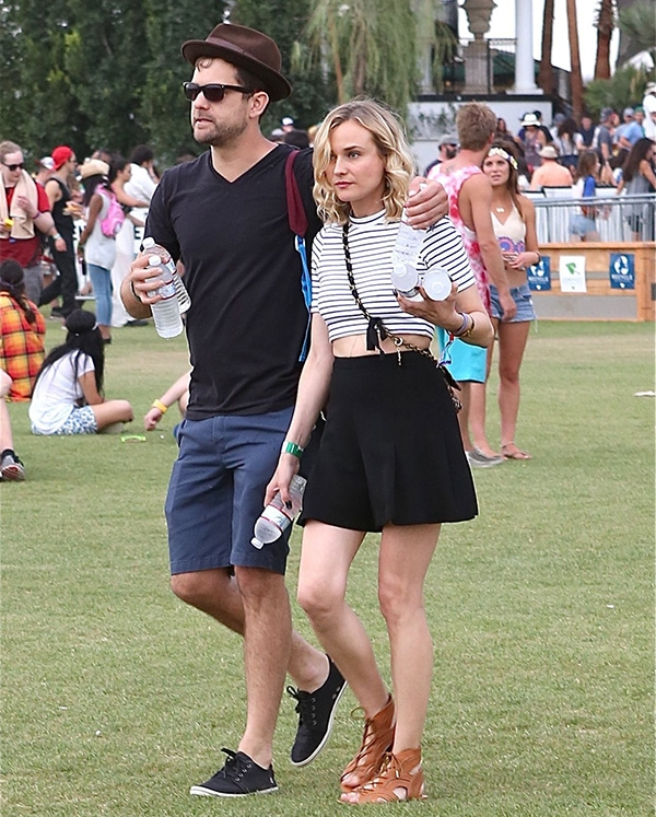 Joshua and Diane opted forcasual and chic clothes atCoachella