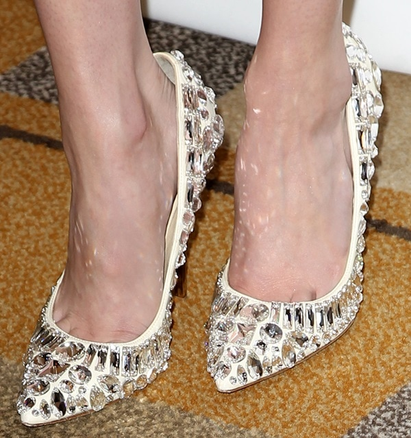 Emma Roberts wearing rhinestone-embellished Jimmy Choo 'Tia' pumps